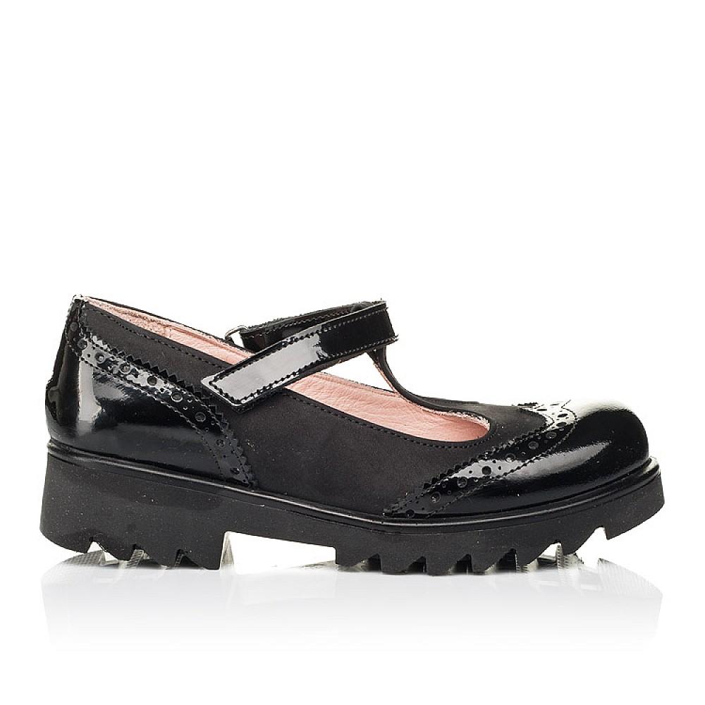 Детские туфли Woopy Fashion черные для девочек натуральная лаковая кожа и нубук размер 33-39 (7046) Фото 4