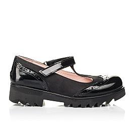 Детские туфли Woopy Fashion черные для девочек натуральная лаковая кожа и нубук размер 33-38 (7046) Фото 4