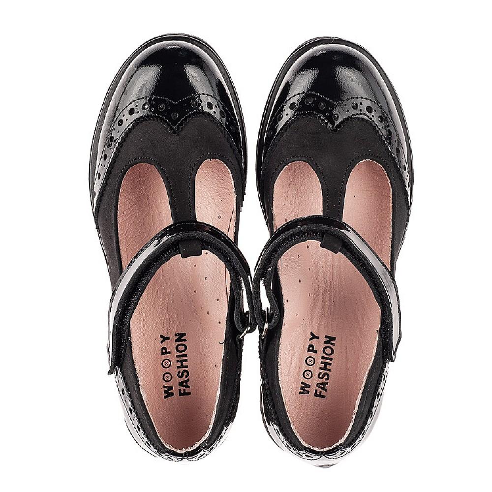 Детские туфли Woopy Fashion черные для девочек натуральная лаковая кожа и нубук размер 33-39 (7046) Фото 5