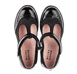 Детские туфли Woopy Fashion черные для девочек натуральная лаковая кожа и нубук размер 33-38 (7046) Фото 5