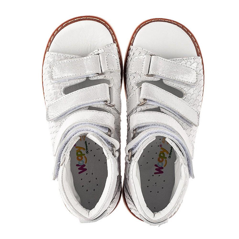 Детские ортопедические босоножки (с высоким берцем) Woopy Orthopedic серебряные для девочек натуральный нубук размер 26-39 (7048) Фото 5