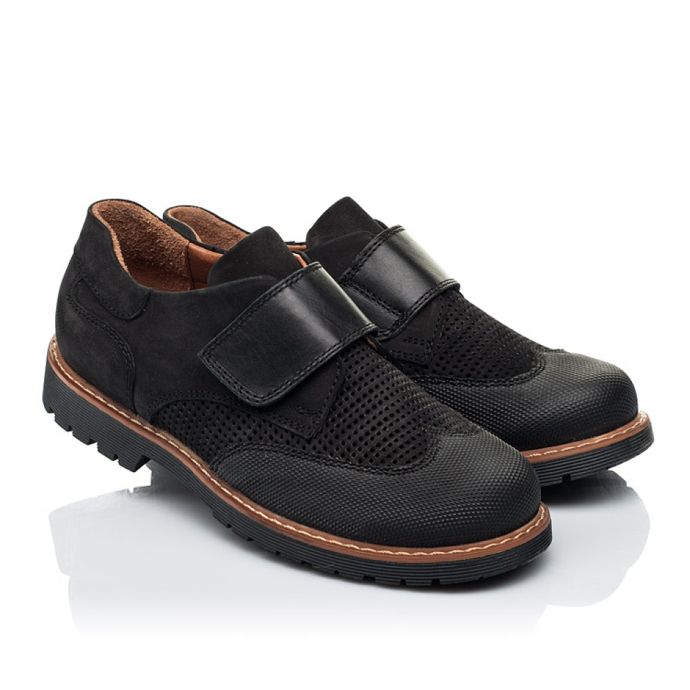 Детские туфли Woopy Orthopedic черные для мальчиков натуральный нубук размер 30-40 (7052) Фото 1