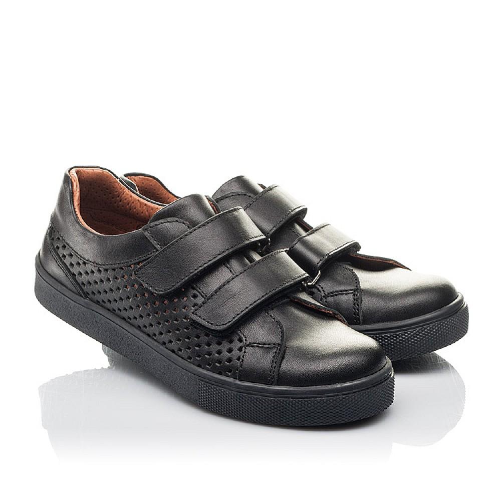 Детские кеды Woopy Fashion черные для девочек натуральная кожа размер 29-40 (7054) Фото 1