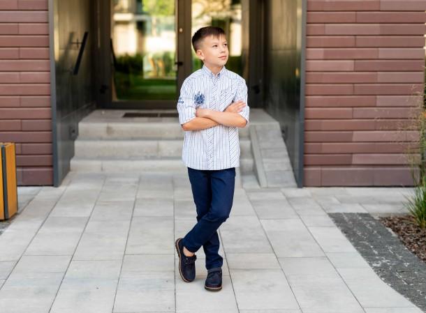 Мальчик обут в детские туфли Woopy Fashion синие (7060) Фото 1