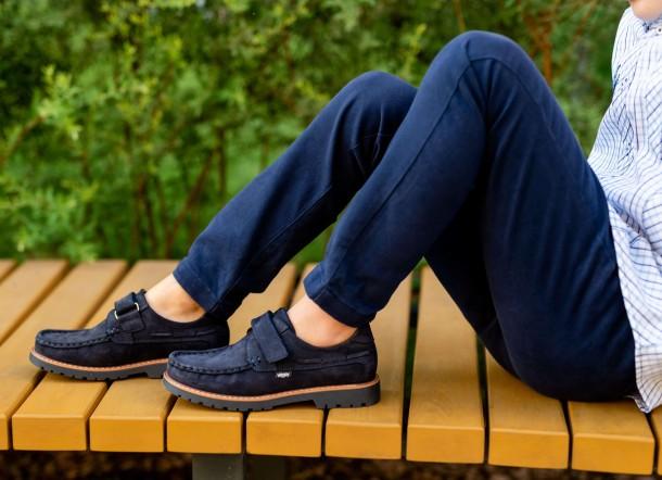 Мальчик обут в детские туфли Woopy Fashion синие (7060) Фото 2