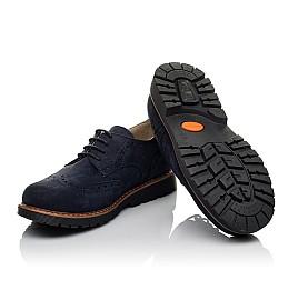 Детские туфли (шнурок-резинка) Woopy Fashion синие для мальчиков натуральный нубук размер 32-39 (7062) Фото 2