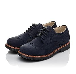 Детские туфли (шнурок-резинка) Woopy Fashion синие для мальчиков натуральный нубук размер 32-39 (7062) Фото 3