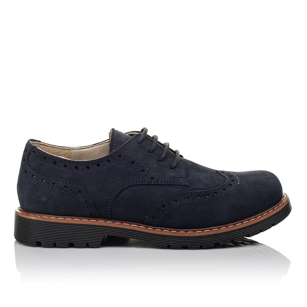Детские туфли (шнурок-резинка) Woopy Fashion синие для мальчиков натуральный нубук размер 32-40 (7062) Фото 4