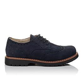 Детские туфли (шнурок-резинка) Woopy Fashion синие для мальчиков натуральный нубук размер 32-39 (7062) Фото 4