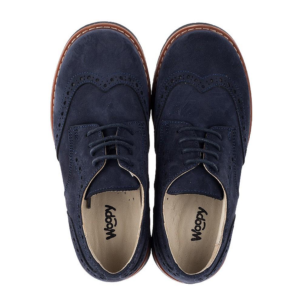 Детские туфли (шнурок-резинка) Woopy Fashion синие для мальчиков натуральный нубук размер 32-40 (7062) Фото 5