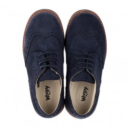 Детские туфли (шнурок-резинка) Woopy Fashion синие для мальчиков натуральный нубук размер 32-39 (7062) Фото 5