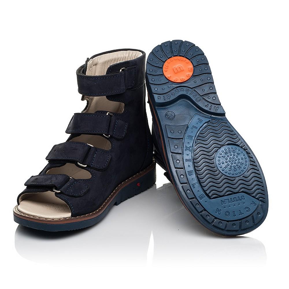 Детские ортопедические босоножки (с высоким берцем) Woopy Orthopedic синие для мальчиков натуральный нубук размер 26-39 (7064) Фото 3