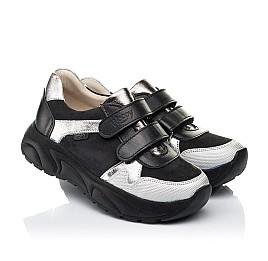 Детские кроссовки Woopy Fashion черные, серебряные для девочек натуральный нубук и кожа размер 28-28 (7070) Фото 1
