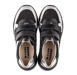 Детские кроссовки Woopy Fashion черные, серебряные для девочек натуральный нубук и кожа размер 28-28 (7070) Фото 5