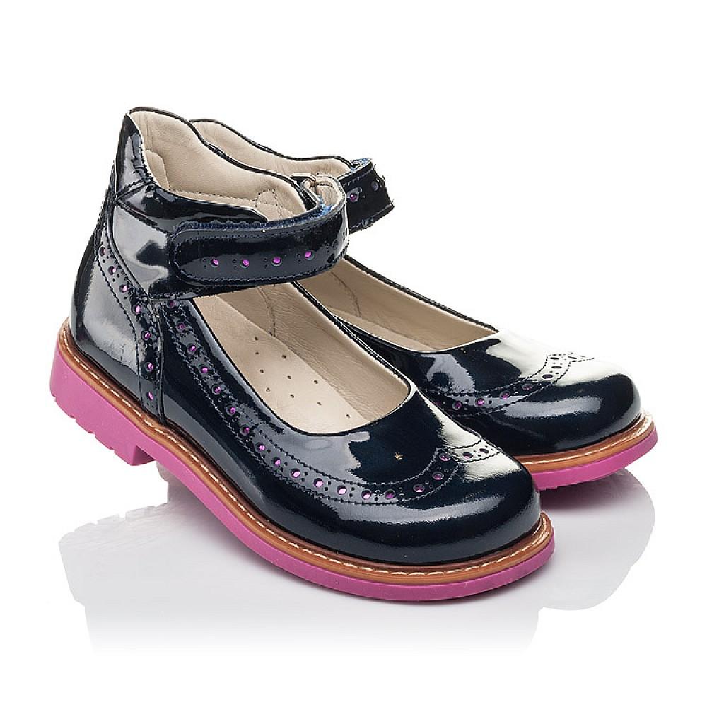 Детские туфли Woopy Orthopedic темно-синие для девочек натуральная лаковая кожа размер 28-36 (7071) Фото 1