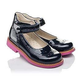 Детские туфли Woopy Orthopedic темно-синие для девочек натуральная лаковая кожа размер 29-35 (7071) Фото 1