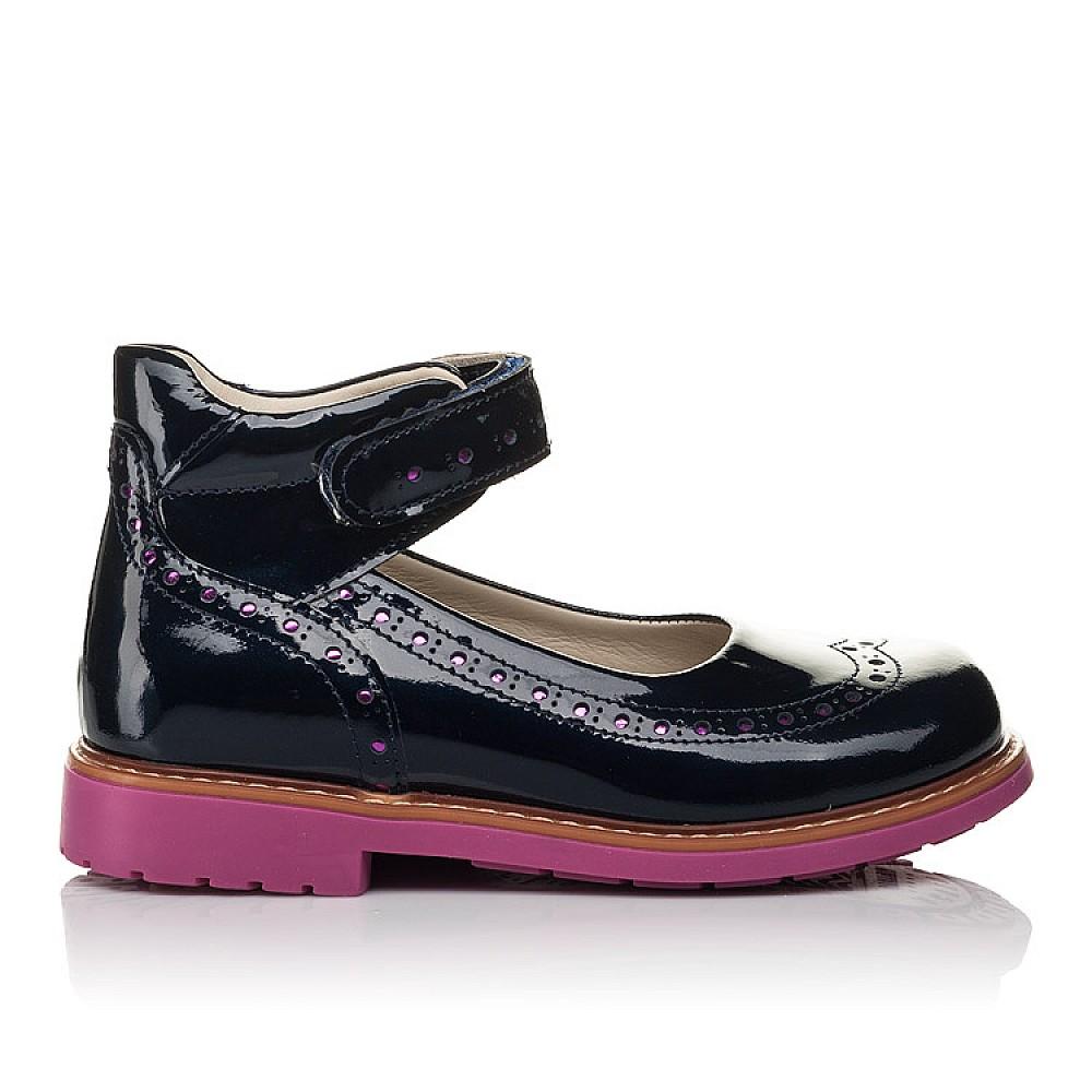Детские туфли Woopy Orthopedic темно-синие для девочек натуральная лаковая кожа размер 28-36 (7071) Фото 4