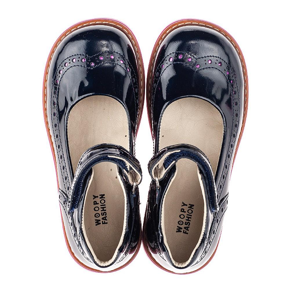 Детские туфли Woopy Orthopedic темно-синие для девочек натуральная лаковая кожа размер 28-36 (7071) Фото 5