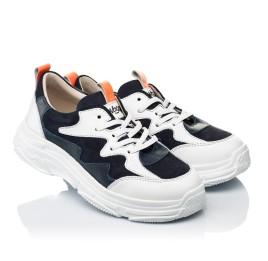 Детские кроссовки Woopy Fashion белые, синие для девочек натуральная кожа и нубук размер 31-40 (7075) Фото 1