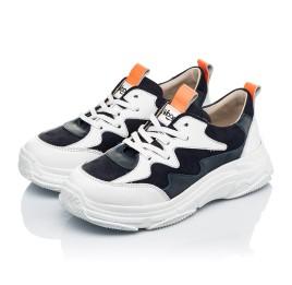 Детские кроссовки Woopy Fashion белые, синие для девочек натуральная кожа и нубук размер 31-40 (7075) Фото 3