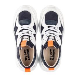 Детские кроссовки Woopy Fashion белые, синие для девочек натуральная кожа и нубук размер 31-40 (7075) Фото 5