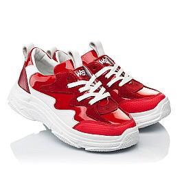 Детские кроссовки Woopy Fashion белые,красные для девочек натуральная замша, лаковая кожа размер 31-39 (7080) Фото 1