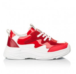 Детские кроссовки Woopy Fashion белые,красные для девочек натуральная замша, лаковая кожа размер 31-39 (7080) Фото 4