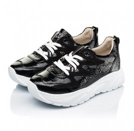 Детские кроссовки Woopy Fashion черные для девочек натуральная лаковая кожа размер 32-39 (7083) Фото 3