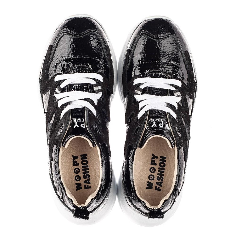 Детские кроссовки Woopy Fashion черные для девочек натуральная лаковая кожа размер 32-40 (7083) Фото 5