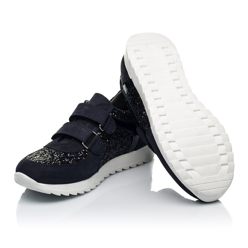 Детские кроссовки Woopy Fashion темно-синие для девочек натуральный нубук, современный искусственный материал размер 23-33 (7085) Фото 2
