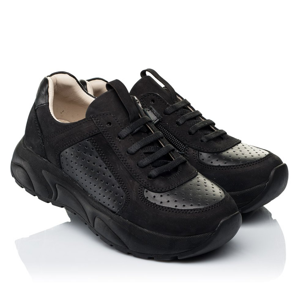 Детские кроссовки Woopy Fashion черные для девочек натуральный нубук и кожа размер 26-38 (7086) Фото 1