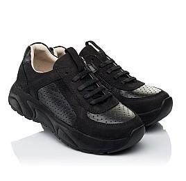 Детские кроссовки (боковая молния) Woopy Fashion черные для девочек натуральный нубук и кожа размер 26-29 (7086) Фото 1