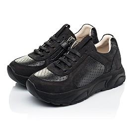 Детские кроссовки (боковая молния) Woopy Fashion черные для девочек натуральный нубук и кожа размер 26-29 (7086) Фото 3