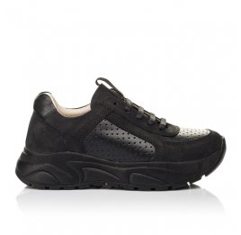 Детские кроссовки (боковая молния) Woopy Fashion черные для девочек натуральный нубук и кожа размер 26-29 (7086) Фото 4