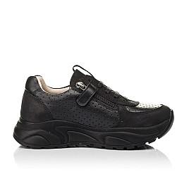 Детские кроссовки (боковая молния) Woopy Fashion черные для девочек натуральный нубук и кожа размер 26-29 (7086) Фото 5