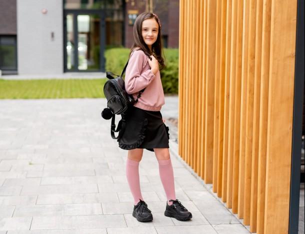 Девочка обута в детские кроссовки Woopy Fashion черные (7086) Фото 2