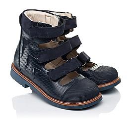 Детские ортопедические туфли (с высоким берцем) Woopy Orthopedic синие для мальчиков натуральная кожа размер 26-34 (7089) Фото 1