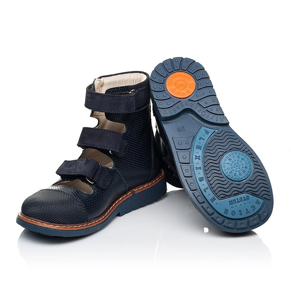 Детские ортопедические туфли (с высоким берцем) Woopy Orthopedic синие для мальчиков натуральная кожа размер 26-34 (7089) Фото 2