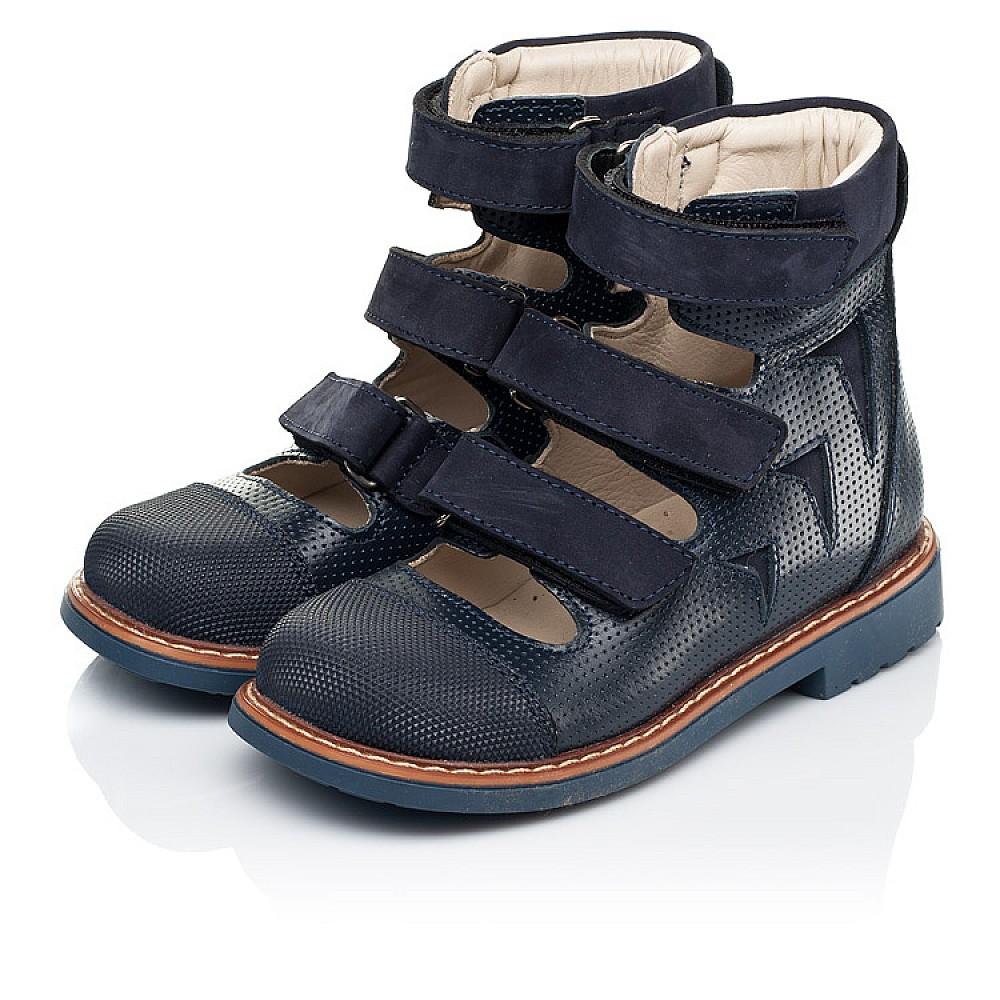 Детские ортопедические туфли (с высоким берцем) Woopy Orthopedic синие для мальчиков натуральная кожа размер 26-34 (7089) Фото 3