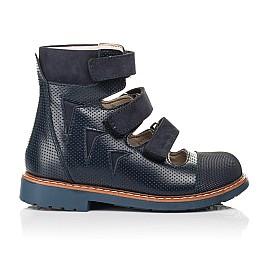 Детские ортопедические туфли (с высоким берцем) Woopy Orthopedic синие для мальчиков натуральная кожа размер 26-34 (7089) Фото 4