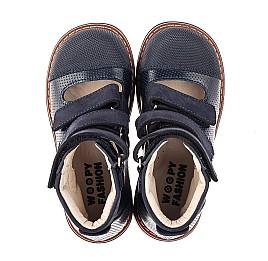 Детские ортопедические туфли (с высоким берцем) Woopy Orthopedic синие для мальчиков натуральная кожа размер 26-34 (7089) Фото 5