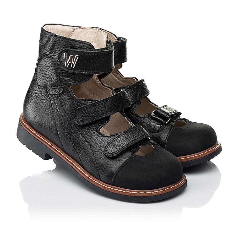 Детские ортопедические туфли (с высоким берцем) Woopy Orthopedic черные для мальчиков натуральная кожа размер 30-35 (7090) Фото 1