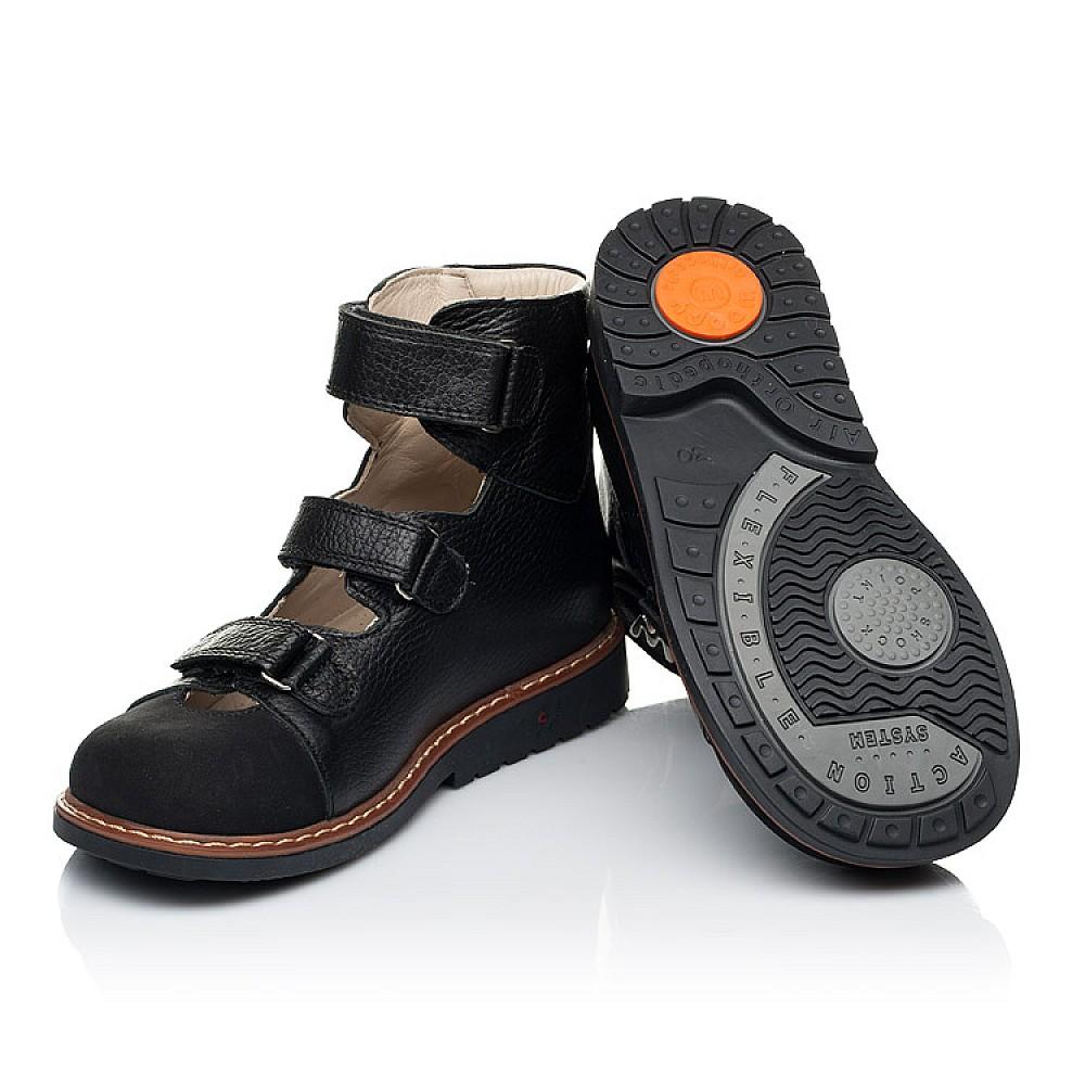 Детские ортопедические туфли (с высоким берцем) Woopy Orthopedic черные для мальчиков натуральная кожа размер 30-35 (7090) Фото 2