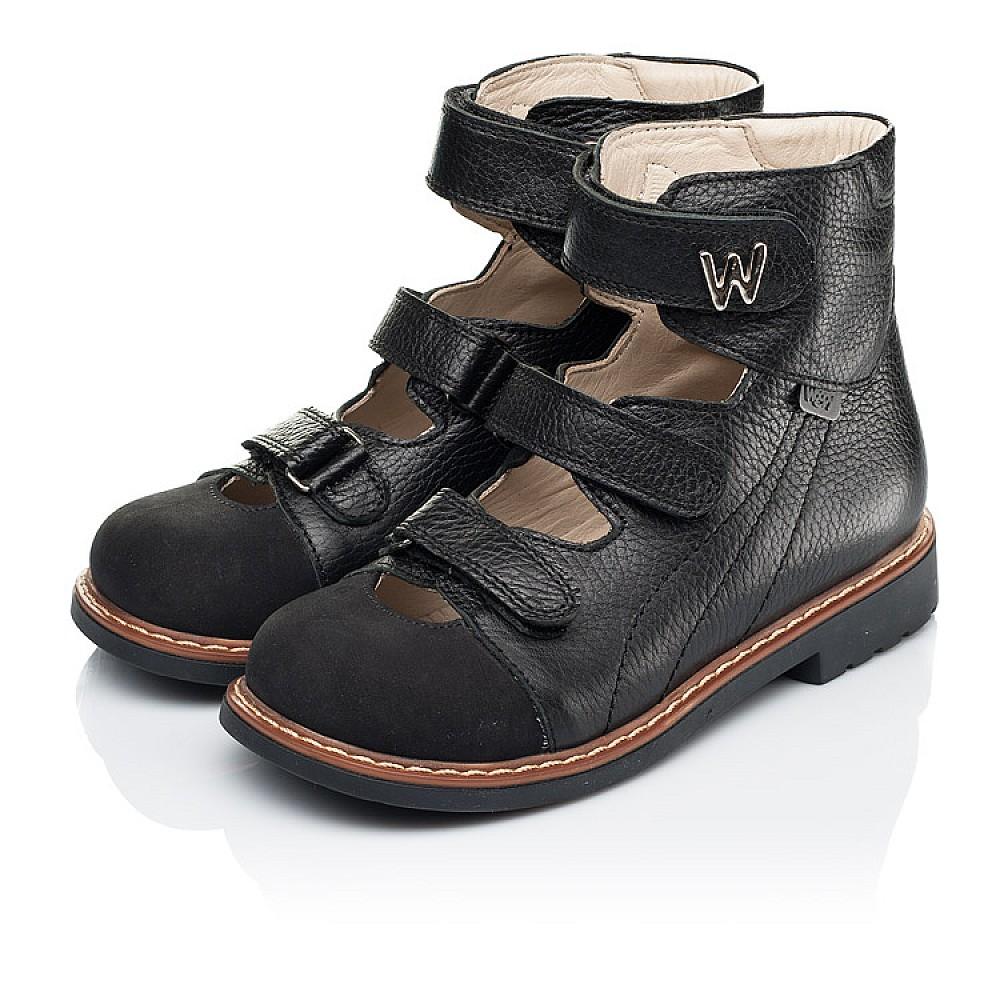 Детские ортопедические туфли (с высоким берцем) Woopy Orthopedic черные для мальчиков натуральная кожа размер 30-35 (7090) Фото 3