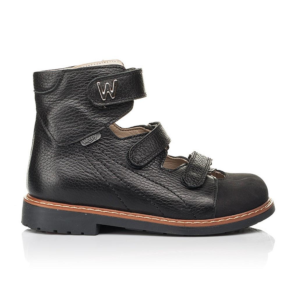Детские ортопедические туфли (с высоким берцем) Woopy Orthopedic черные для мальчиков натуральная кожа размер 30-35 (7090) Фото 4