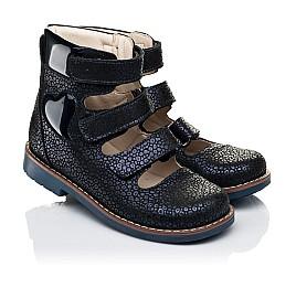 Детские ортопедические туфли (с высоким берцем) Woopy Orthopedic синие для девочек натуральный нубук размер 31-35 (7091) Фото 1