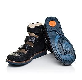 Детские ортопедические туфли (с высоким берцем) Woopy Orthopedic синие для девочек натуральный нубук размер 35-35 (7091) Фото 2