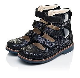 Детские ортопедические туфли (с высоким берцем) Woopy Orthopedic синие для девочек натуральный нубук размер 31-35 (7091) Фото 3