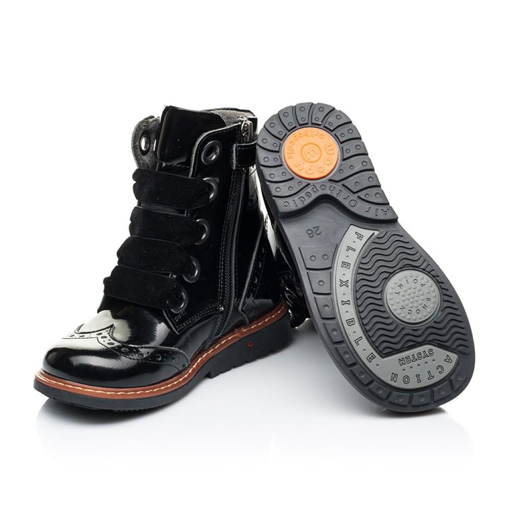 Детские демисезонные ботинки Woopy Orthopedic черные для девочек натуральная лаковая кожа размер 24-30 (7092) Фото 2