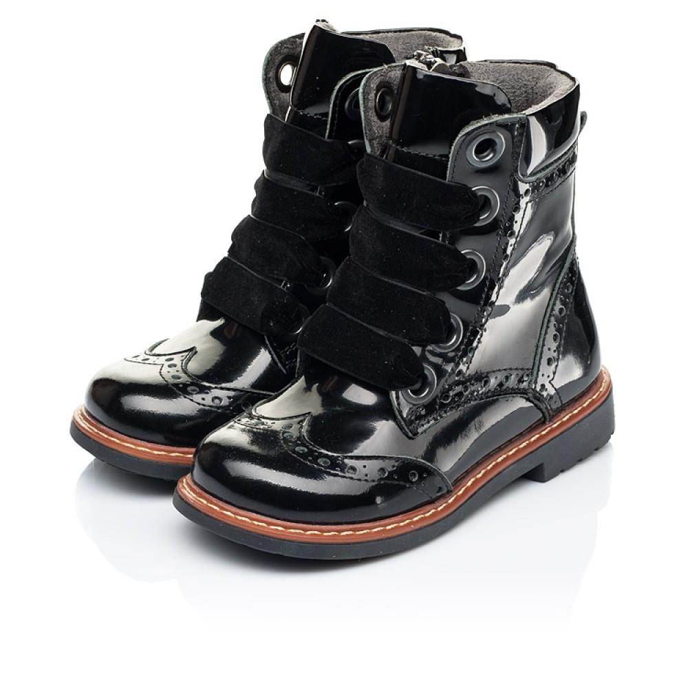 Детские демисезонные ботинки Woopy Orthopedic черные для девочек натуральная лаковая кожа размер 24-30 (7092) Фото 3